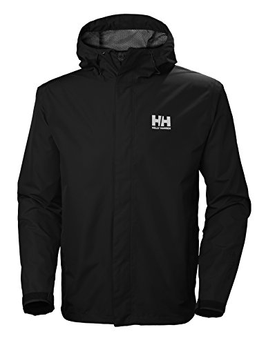 Helly-Hansen Men's Seven J Waterproof Windproof Breathable Rain Coat Jacket, 992 Black, X-Large