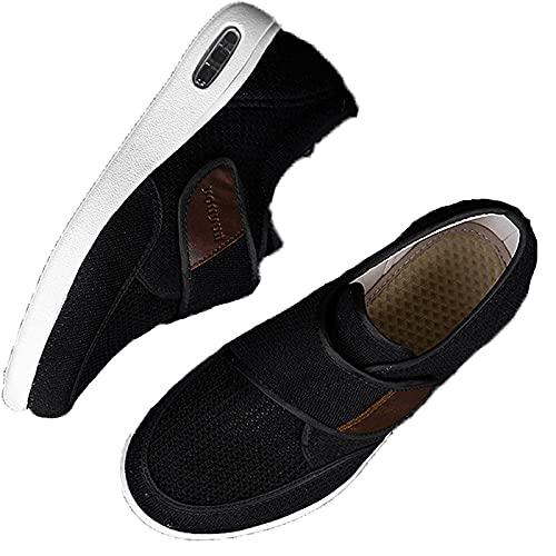 XRDSHY Zapatos para Diabéticos Hombres, Zapatos De Ensanchamiento De Fertilizante De Gran Tamaño Plus para La Hinchazón del Pie Fascitis Plantar Zapatos para Caminar,Black-44