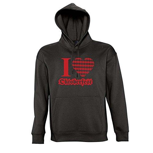 Wiesn - I LOVE OKTOBERFEST - WITZIGES-OKTOBERFEST MÜNCHEN Kapuzen Sweatshirt - Pullover S-XXL , Deep black - rot , L