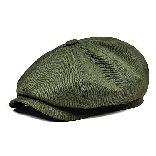 CHENTAOCS Newsboy Cap Hommes Twill Cotton Hat Femmes Baker Boy Caps Retro Big Headpiece Grands Chapeaux Cabbie d'Apple Beret 003 Facile à Utiliser (Couleur : Army Green, Hat Size : 58 59cm)
