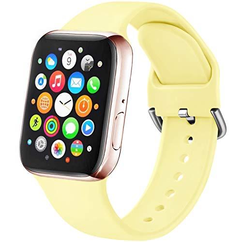 Amzpas Cinturino Compatibile per Apple Watch 38mm 40mm 42mm 44mm, Nuovo Cinturino in Silicone di Sportivo Morbido per iWatch Series 6,5,4,3,2,1,SE (42/44mm S/M, 07Giallo chiaro)