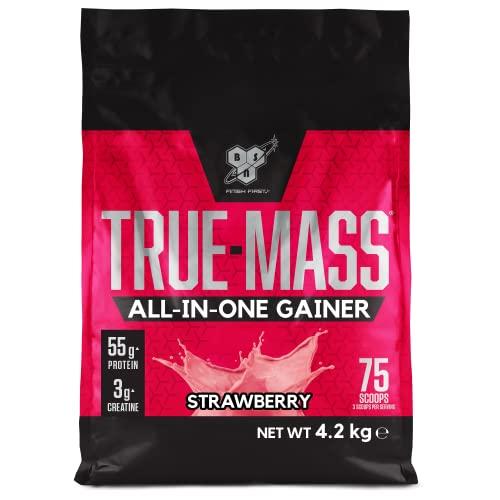 BSN True Mass All In One Gainer Protein Pulver mit Kreatin, Glutamin, Vitamin D und Zink hergestellt für Muskelaufbau, Strawberry, 25 Portionen, 4,2 kg