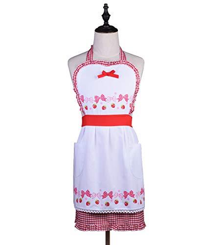 Love Potato Delantal Vintage diseño de Fresa y Lazo con Bolsillos, Cuello Ajustable para cocinar Hornear, jardinería, Color Rojo y Blanco, Rojo, Adult Women