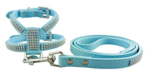 Double-sweet 4 Colors PU Leather Dog Harness Leash Lead Bling Rhinestone Dog Leash Harness Vest For Small Puppies XS-L-Blue Set-S