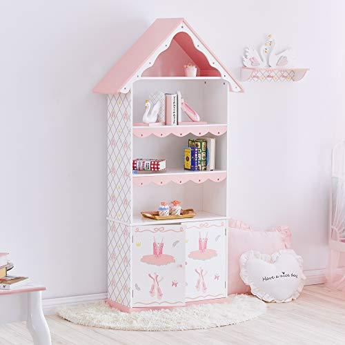 Fantasy Fields Swan Lake Ballerina boekenkast | handgemaakt en handgeschilderd Kids houten meubels | wit en roze
