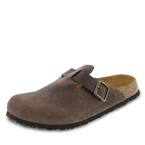 JOE N JOYCE Amsterdam Clogs, für schmale Füsse, Größe: 43 EU, Farbe: Braun, Material: Leder geölt, Hausschuhe, Pantoffeln, geschlossene Sandalen