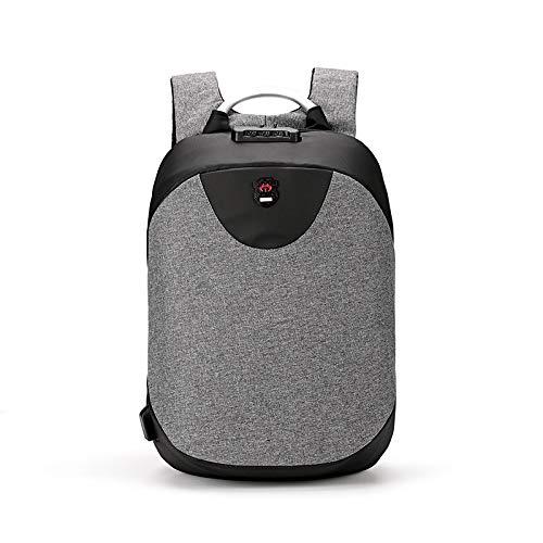 Zaino per laptop da viaggio con ricarica USB antifurto per zaino grigio da 15,6 pollici