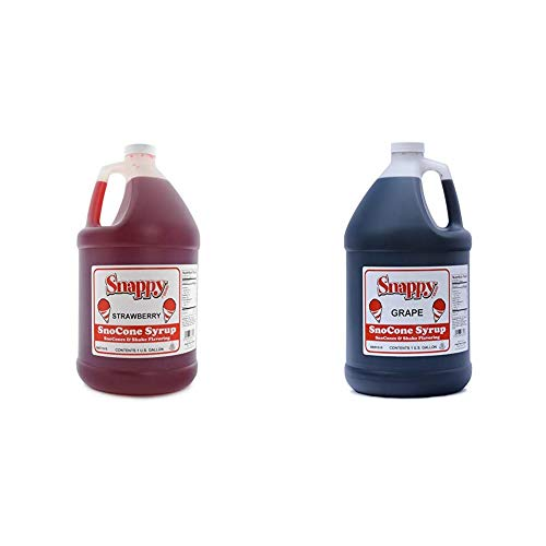 Snappy Popcorn Snappy Snow Conce Syrup strawberry, 128 Fl Oz & SNAPPY Grape Sno Cone Syrup, 1 Gallon, 11 Pound