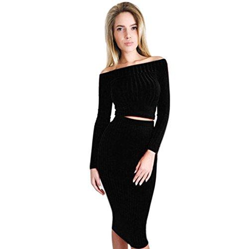 Lenfesh Damen Schulterfrei Zweiteiliges Kleid, Lange Ärmel Outfit Bluse + Röcke (M, Schwarz)