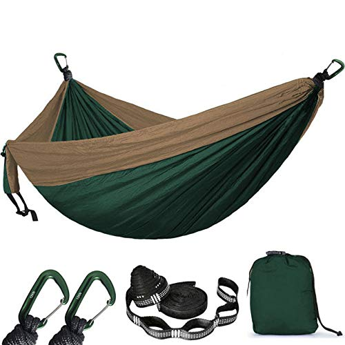 FENGSZ Camping Survival Hammock 300Cm * 200Cm,Load Capacity Up To 550 Lbs,For Outdoor,Yard, Camping,Beach And Patio,Bule And Yellow