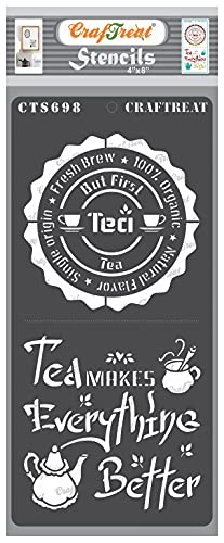 CrafTreat Tee-Schablonen zum Malen auf Holz – But First Tea – Größe: 10,2 x 20,3 cm – Tee-Zitat-Schablonen zum Malen auf Holz wiederverwendbar – Café-Schablone für Bastelarbeiten