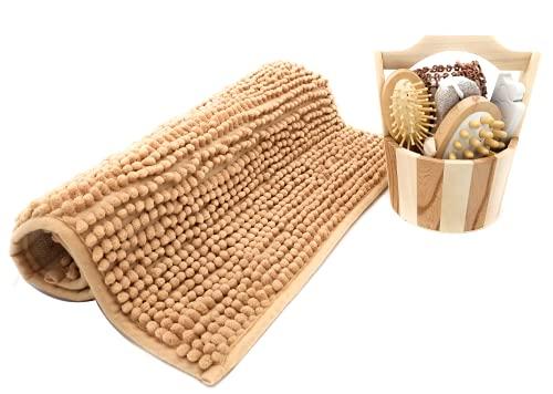 Alfombra Ducha Antideslizante , Alfombrilla de Baño Antideslizante Microfibra + Set de Cepillos de Baño, SPA Cuerpo Piedra Pómez de Pie + Separadores Dedos Pedicura + Cubo de Bambú. Set DE Ducha