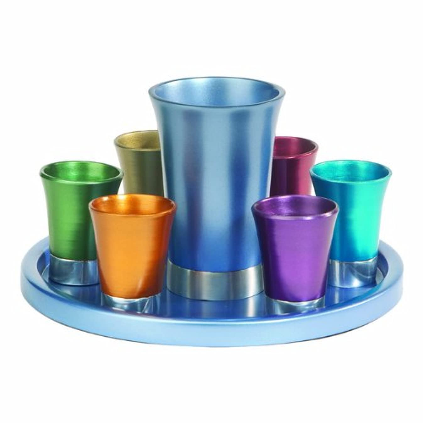 Yair Emanuel Multicolored Anodized Aluminum Kiddush Set with Tray (GSS-5)
