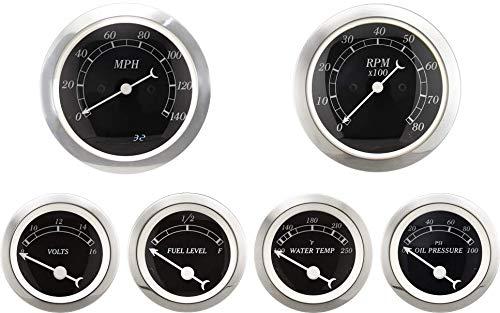 6 Gauge set with senders 120KPH Speedometer Tachometer Fuel Volts Oil Temp Black
