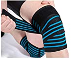 Hykes Weight Lifting Knee Wraps (78-inch, Blue) -Pack of 2