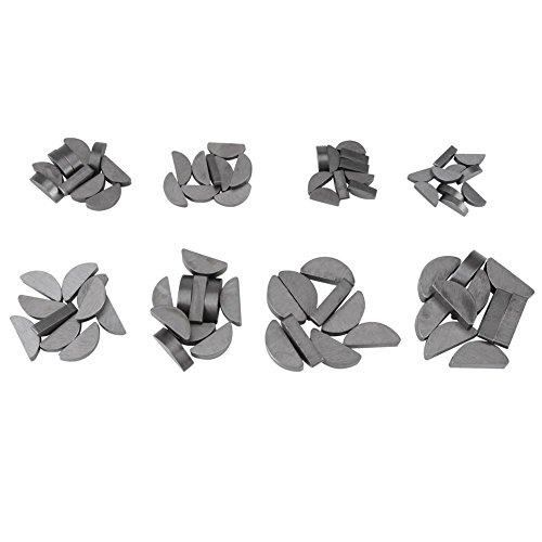 jeu de clés Woodruff, kit d'assortiment de 80 pièces, ensemble de tailles différentes, attaches, industrie mécanique, 8 tailles différentes