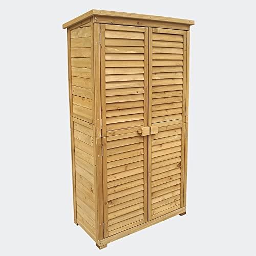 Caseta de jardín 870x465x1600mm con puerta laminada, madera de pícea con tejado de betún, cobertizo