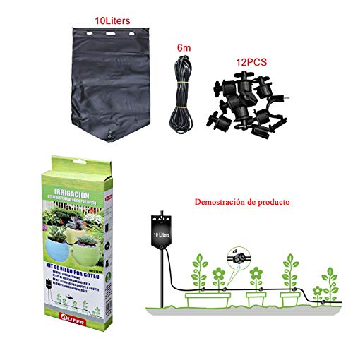 ALLPER Kit de Sistema de Riego por Goteo, irrigación. Bolsa de Agua de 10L, Tubo PVC 6m, 8X Boquillas Ajustables. Riego a 8 floreros.