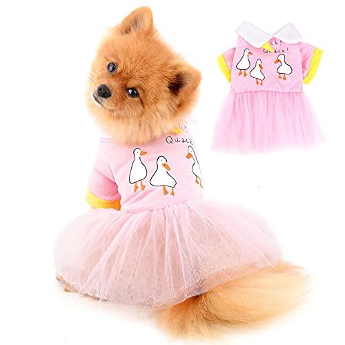 PAIDEFUL Vestidos de Gasa para Perros Pequeños Medianos Gatos Mujeres Niñas Chaleco de Algodón Suave Faldas Tutú Transpirables Cachorros Chihuahua Ropa Mascotas Primavera Verano Vistiendo Rosa M