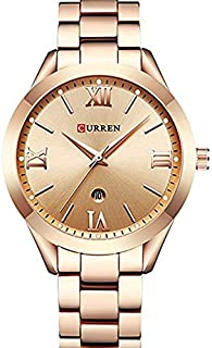 Curren 9007 Quartz Movement Stainless Steel Strap Round Analog With Date Display Rose Gold Watch for Women