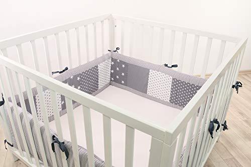 Baby Bettumrandung für Laufstall   Made in EU   ÖkoTex 100   Schadstoffgeprüft   Antiallergisch   Baby Nestchen   Babynest   Laufstall-Umrandung   Graue Sterne   400 x 30cm   ULLENBOOM ®