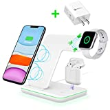 Intoval Wireless Charger,3 in 1 Wireless Charging Station for Apple Watch/Airpods,Qi Certified Wireless Charging Stand for iPhone 11/11 Pro/XS Max/XS XR All Qi-Enabled Phones.(with AC Adapter)
