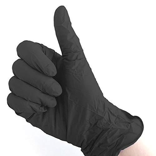 Powder-Free Nitrile Utility Gloves. 100 Gloves (Black, M)