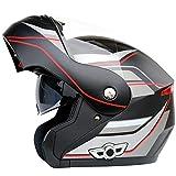 SMINNG Casco De Moto con Bluetooth,Casco Modular De Motos Integrado Dot Homologado para Patinete Electrico Motocicleta Bicicleta Scooter Casco Crucero Ciclomotor Mujer/Hombre 63~64CM