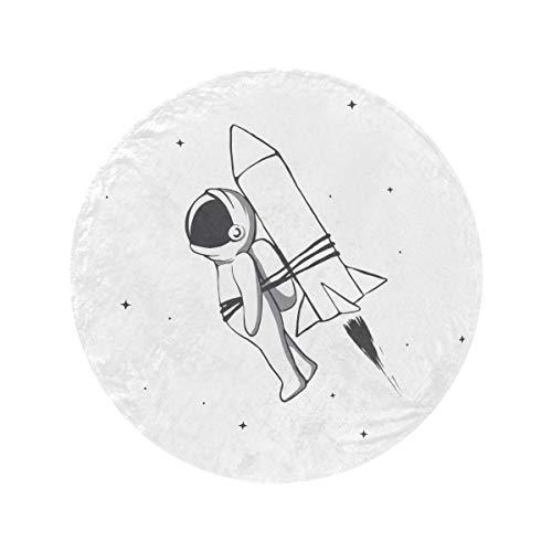 Manta redonda de algodón cósmico de astronauta volador con cohete atado, suave y acogedora, suave y circular, manta fina de lana para el hogar, cama, sofá de viaje (47'/60')