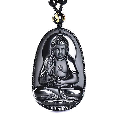 Obsidian buddha pendant Jade Pendant male Women necklace buddha Bead curtain transhipped scrub buddha head pendant black Jade