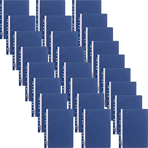 D.RECT 25 Stück | Extra stark Schnellhefter Lux A4 aus Kunststoff mit transparentem Vorderdeckel | Plastik-Schnellhefter aus PP-Folie | gelocht - Eurolochung Blau