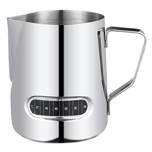 Yilin Roestvrijstalen melkopschuimer, 500 ml / 17 oz Melk Koffie Cappuccino Latte Melk Schuimende kan Trekbloembeker Melkpot Melkopschuimer Werper