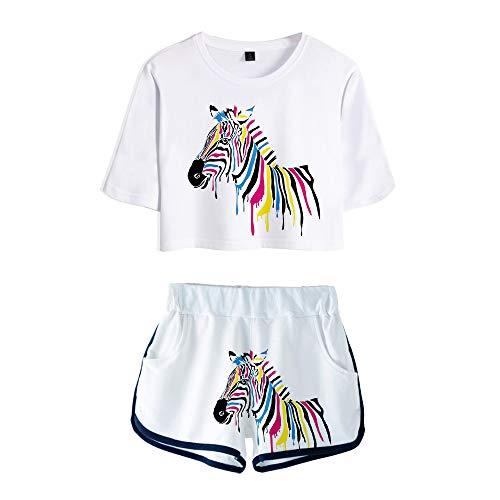 wywyet 3D Deux Pièces Ensembles T-Shirt À Manches Courtes Motif Cheval Animal Coloré + Short Costume Femmes Étudiant Jeunes Vêtements, XL