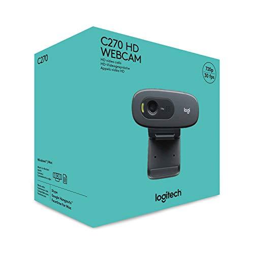 Logitech C270 Webcam, HD 720p, 60° Sichtfeld, Fester Fokus, Belichtungskorrektur, USB-Anschluss, Rauschunterdrückung, Universalhalterung, Für Skype, FaceTime, Hangouts, etc., PC/Mac/ChromeOS/Android