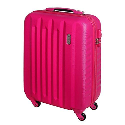 Karry Handgepäck Bordgepäck Hartschalen Koffer für Kurzreisen Urlaub Reisen Businesskoffer Trolley Case TSA Schloss 30 Liter Pink 811