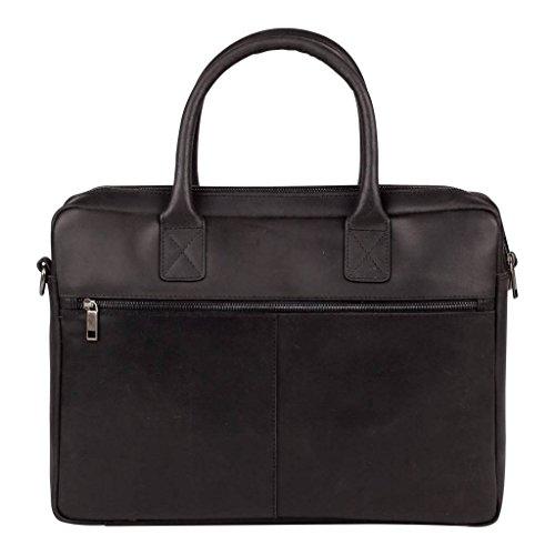 Burkely Vintage - Damen Handtaschen (Schultertasche, Leder, Schwarz, Schwarz)