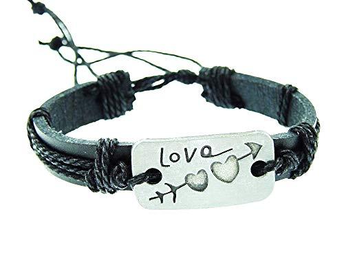 Heren armband - heren - armband - verstelbaar - liefde - leer - kunstleer - zwart - kerst - origineel cadeau idee love