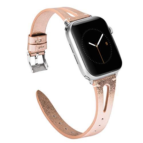 Wearlizer für Apple Watch 38mm Armband Leder, Echtleder X Band für iWatch Straps Ersatz Lederarmband 38mm 40mm für Apple Watch Series 4 3 2 1 - Glänzende Rosa