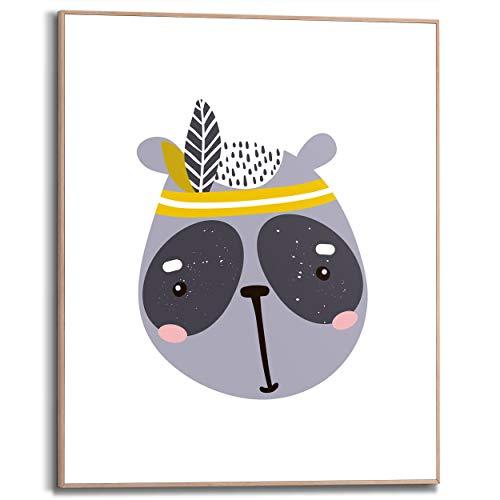 Schilderij Slim Frame Kleine panda Babykamer - Indiaan - Tekening - 40 x 50 cm Kinderkamer