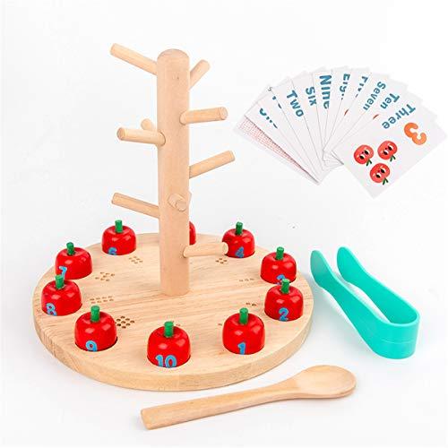 planuuik Fruite Tree Juguete de Madera Montessori Math Toy Enseñar a los niños Preescolar Aprendizaje temprano