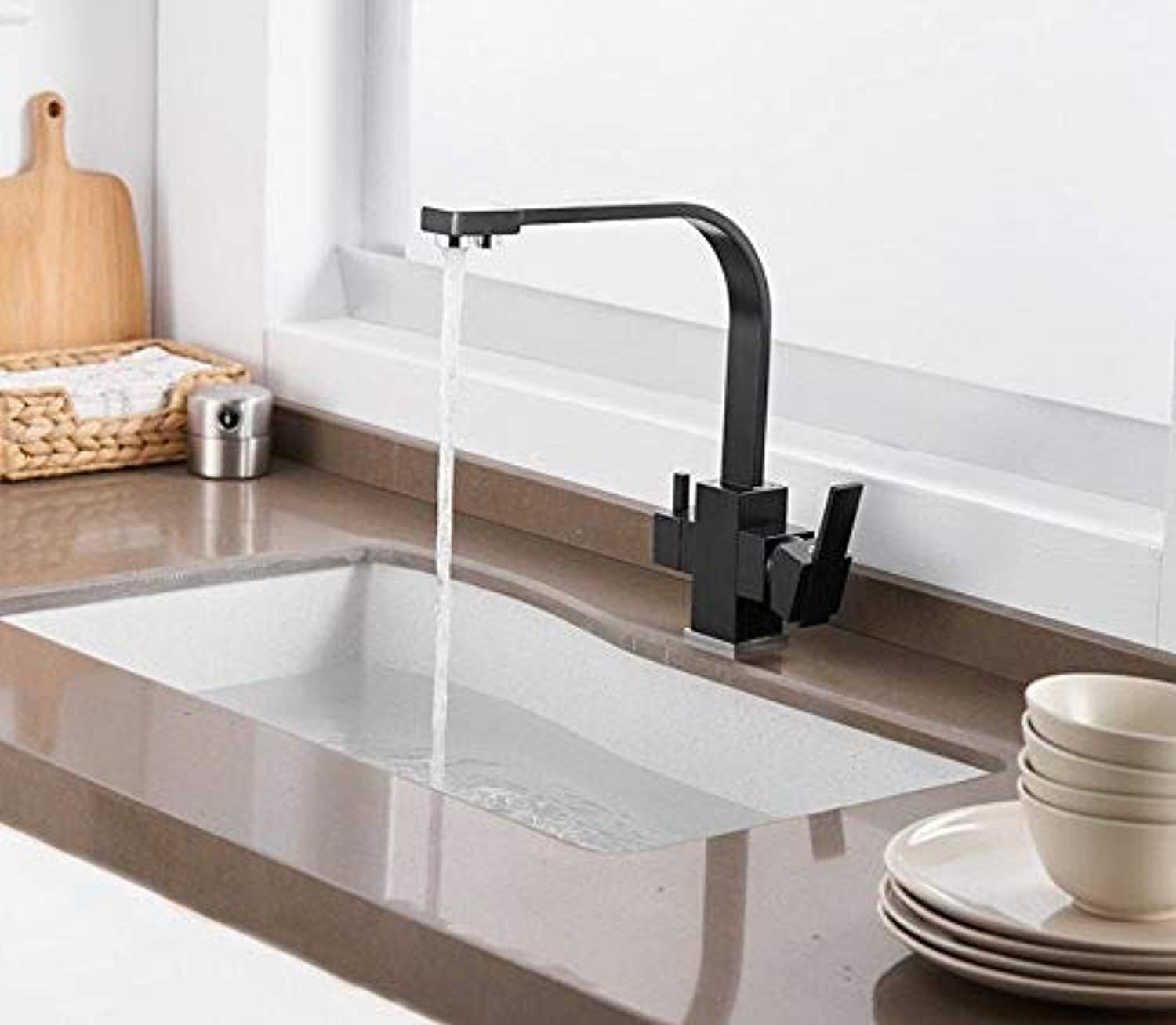 Marcu HOME Taps Black Square Kitchen Faucets 360 Degree redation Tap Water Faucets Solid Brass Kitchen Sink Tap Water Mixer Taps