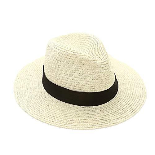 Sombrero De Panamá para Hombre Sombrero Grande Sombrero De Tamaños Cómodos Verano Protector Solar Protector Solar Panamá Moda Vintage Al Aire Libre Ropa (Color : Cremefarben, Size : One Size)