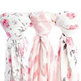 Kids N' Such Extra-Large Muslin Baby Swaddle Blanket, Petal, 47 x 47, 3 Pack