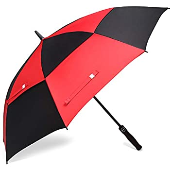 BAGAIL Golf Umbrella 68/62/58 Inch Large Oversize Double Canopy Vented Automatic Open Stick Umbrellas for Men and Women Black/Red,62 inch