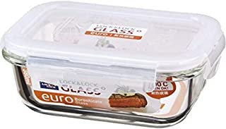 LOCK & LOCK GLASS, 1.6 Cup, Borosilicate Glass, Oven Safe, BPA Free, 100% Airtight, Glass Rectangular Food Storage Container with Lid