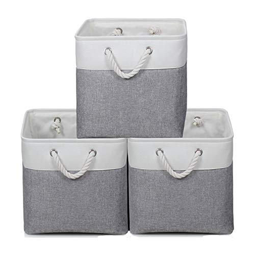 KEEGH Large Foldable Fabric Storage Cubes 13X13' Collapsible Storage Bins Organizer Basket Shelf Cube 3-Pack with Sturdy Cotton Carry Handles for Baby Nursery Closet Shelves Organization