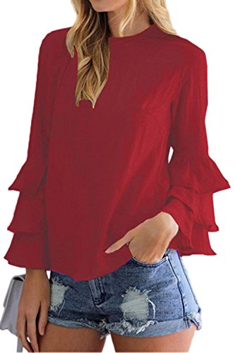 Mujeres Casual Camiseta con Volantes De Manga Larga Tunica Plus Size Top tee Red M