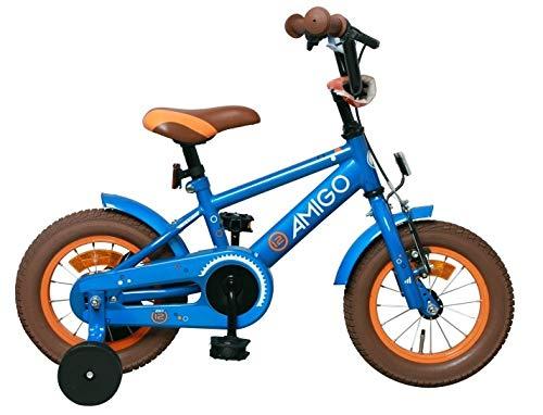 AMIGO Sports - Bicicleta Infantil de 12 Pulgadas, con Freno de contrapedal y Ruedas de Apoyo, a Partir de 3 años, Color Azul