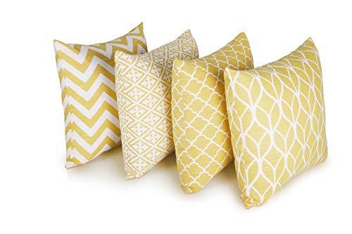 Penguin Home 4er pack koordiniert Dekorative quadratische Kissenbezüge Luxus und stilvolle Taschen für das Wohnzimmer-Sofa, Schlafzimmer mit unsichtbarem Reißverschluss 45 x 45 cm - Gelb
