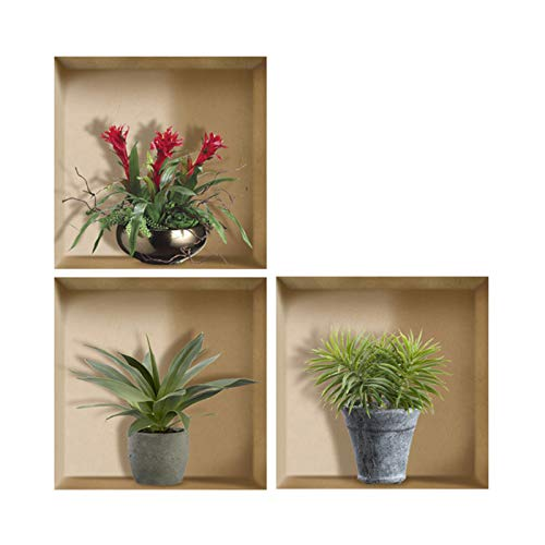VANCORE 偽窓ウォールステッカー 3d 北欧 おしゃれ壁紙 剥がせるポスター 浴室 はがせる防水ステッカー 本物ような写真(12種類)植木